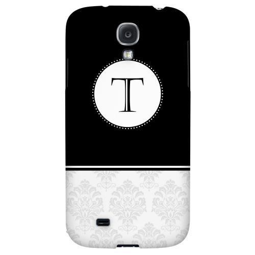 Black Monogram T w/ White Damask Design - Geeks Designer Line Monogram Series Hard Back Case for Samsung Galaxy S4