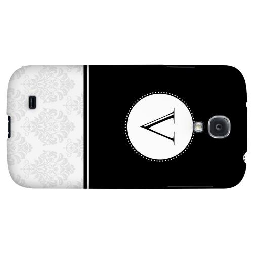Black Monogram V w/ White Damask Design - Geeks Designer Line Monogram Series Hard Back Case for Samsung Galaxy S4