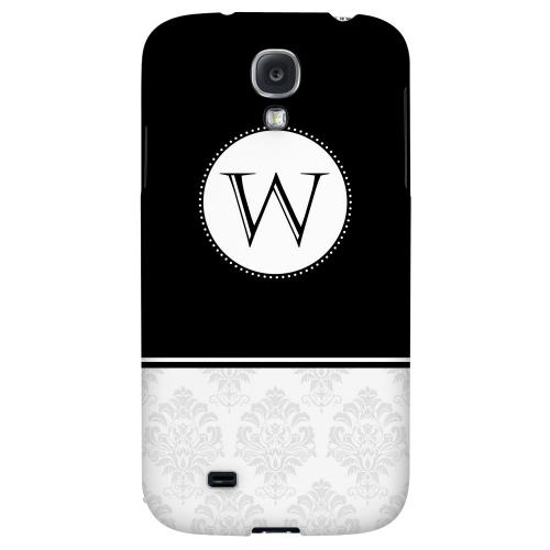 Black Monogram W w/ White Damask Design - Geeks Designer Line Monogram Series Hard Back Case for Samsung Galaxy S4