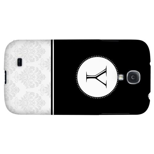 Black Monogram Y w/ White Damask Design - Geeks Designer Line Monogram Series Hard Back Case for Samsung Galaxy S4