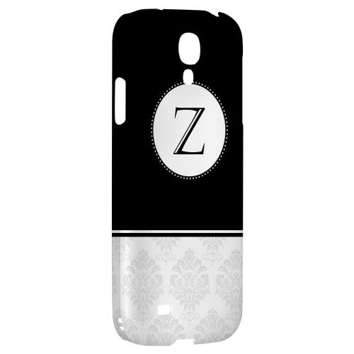 Black Monogram Z w/ White Damask Design - Geeks Designer Line Monogram Series Hard Back Case for Samsung Galaxy S4