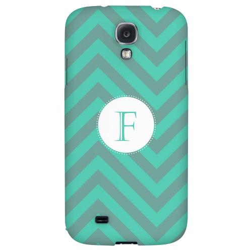 Seafoam Green Monogram F on Zig Zags - Geeks Designer Line Monogram Series Hard Back Case for Samsung Galaxy S4
