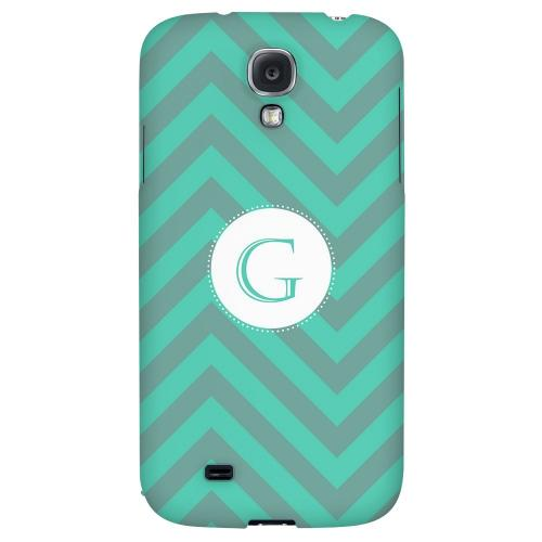 Seafoam Green Monogram G on Zig Zags - Geeks Designer Line Monogram Series Hard Back Case for Samsung Galaxy S4