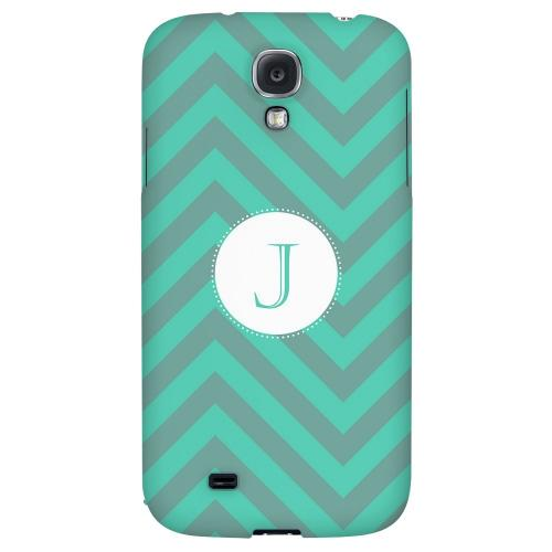 Seafoam Green Monogram J on Zig Zags - Geeks Designer Line Monogram Series Hard Back Case for Samsung Galaxy S4