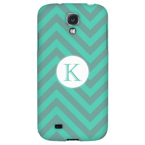 Seafoam Green Monogram K on Zig Zags - Geeks Designer Line Monogram Series Hard Back Case for Samsung Galaxy S4