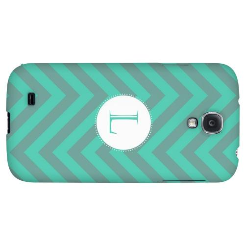 Seafoam Green Monogram L on Zig Zags - Geeks Designer Line Monogram Series Hard Back Case for Samsung Galaxy S4