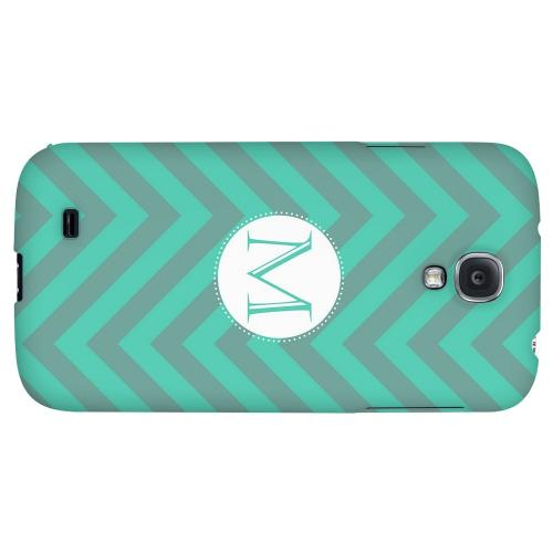Seafoam Green Monogram M on Zig Zags - Geeks Designer Line Monogram Series Hard Back Case for Samsung Galaxy S4
