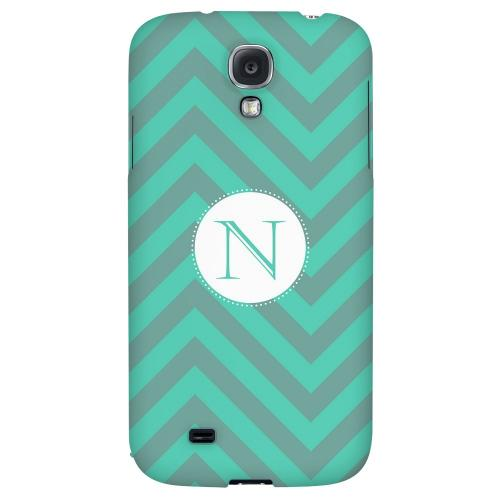 Seafoam Green Monogram N on Zig Zags - Geeks Designer Line Monogram Series Hard Back Case for Samsung Galaxy S4