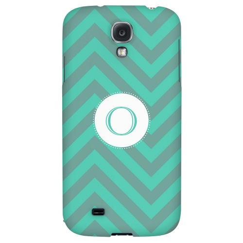 Seafoam Green Monogram O on Zig Zags - Geeks Designer Line Monogram Series Hard Back Case for Samsung Galaxy S4
