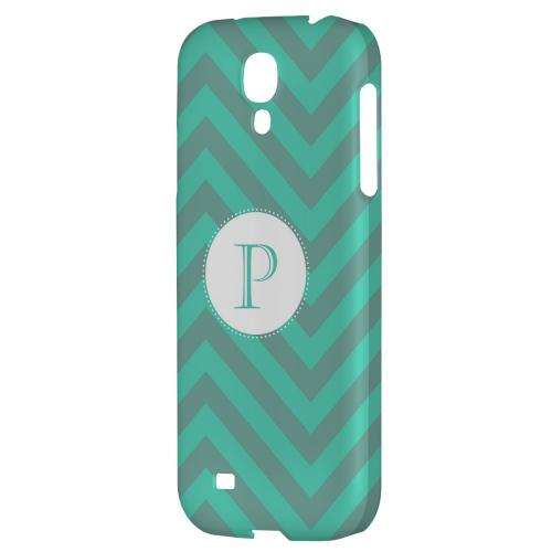 Seafoam Green Monogram P on Zig Zags - Geeks Designer Line Monogram Series Hard Back Case for Samsung Galaxy S4