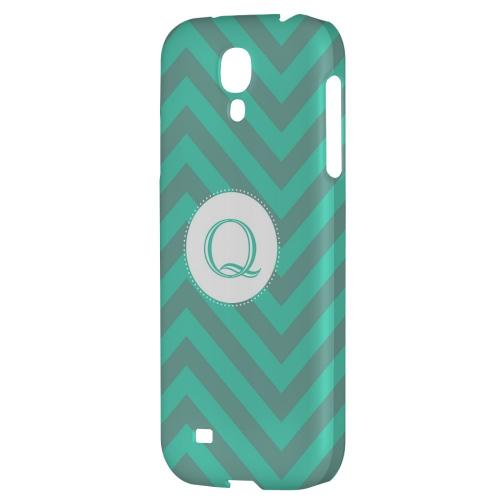 Seafoam Green Monogram Q on Zig Zags - Geeks Designer Line Monogram Series Hard Back Case for Samsung Galaxy S4