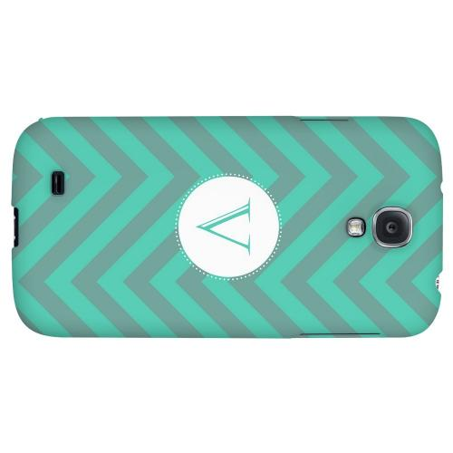 Seafoam Green Monogram V on Zig Zags - Geeks Designer Line Monogram Series Hard Back Case for Samsung Galaxy S4