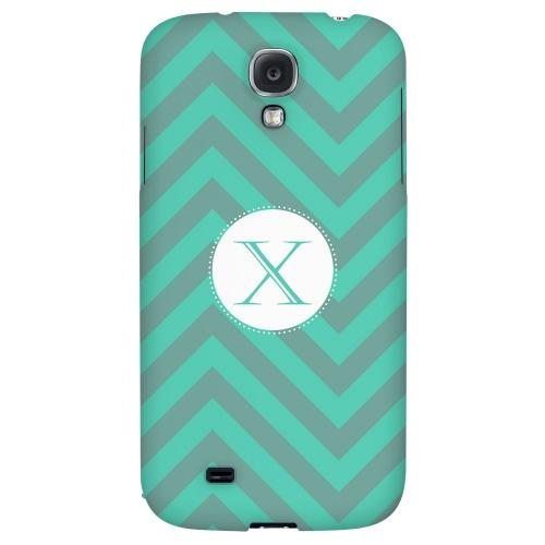 Seafoam Green Monogram X on Zig Zags - Geeks Designer Line Monogram Series Hard Back Case for Samsung Galaxy S4