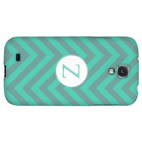Seafoam Green Monogram Z on Zig Zags - Geeks Designer Line Monogram Series Hard Back Case for Samsung Galaxy S4