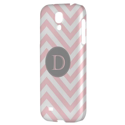 Gray Button Monogram D on Pale Pink Zig Zags - Geeks Designer Line Monogram Series Hard Back Case for Samsung Galaxy S4