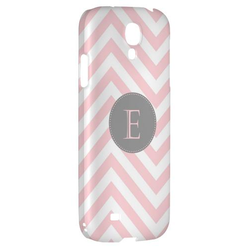 Gray Button Monogram E on Pale Pink Zig Zags - Geeks Designer Line Monogram Series Hard Back Case for Samsung Galaxy S4