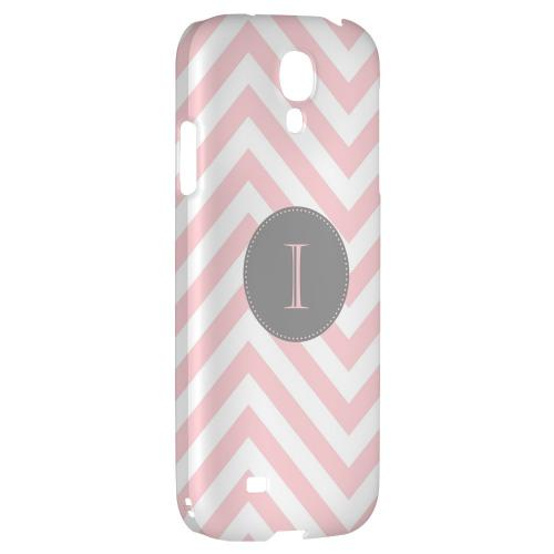 Gray Button Monogram I on Pale Pink Zig Zags - Geeks Designer Line Monogram Series Hard Back Case for Samsung Galaxy S4