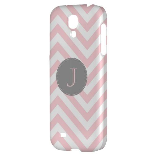 Gray Button Monogram J on Pale Pink Zig Zags - Geeks Designer Line Monogram Series Hard Back Case for Samsung Galaxy S4