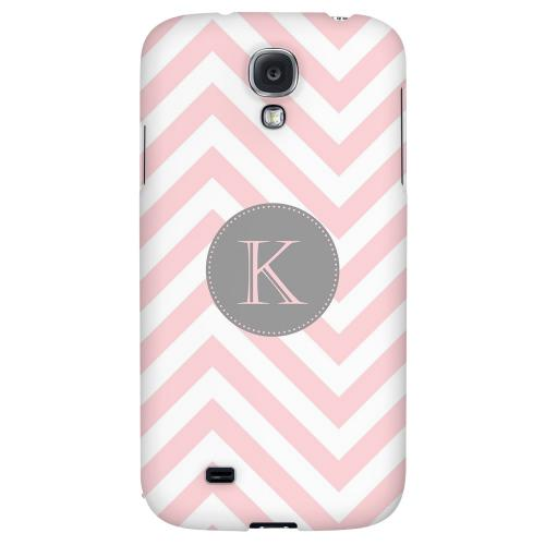Gray Button Monogram K on Pale Pink Zig Zags - Geeks Designer Line Monogram Series Hard Back Case for Samsung Galaxy S4