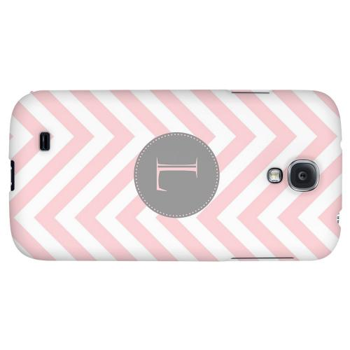 Gray Button Monogram L on Pale Pink Zig Zags - Geeks Designer Line Monogram Series Hard Back Case for Samsung Galaxy S4