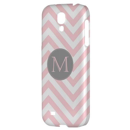 Gray Button Monogram M on Pale Pink Zig Zags - Geeks Designer Line Monogram Series Hard Back Case for Samsung Galaxy S4