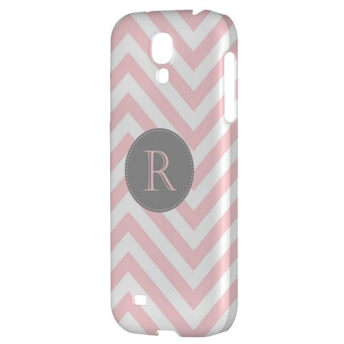Gray Button Monogram R on Pale Pink Zig Zags - Geeks Designer Line Monogram Series Hard Back Case for Samsung Galaxy S4