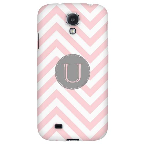 Gray Button Monogram U on Pale Pink Zig Zags - Geeks Designer Line Monogram Series Hard Back Case for Samsung Galaxy S4