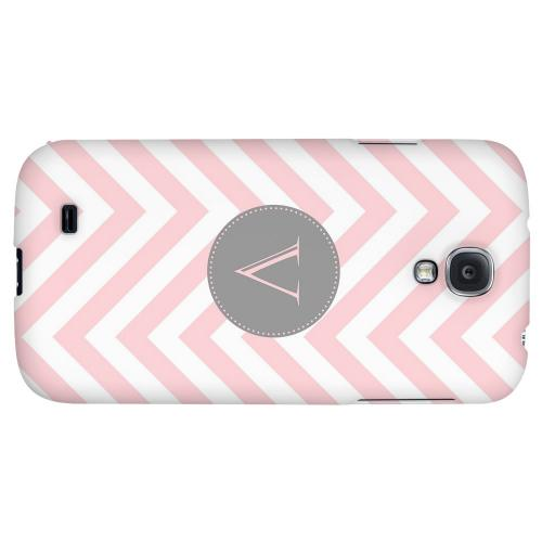 Gray Button Monogram V on Pale Pink Zig Zags - Geeks Designer Line Monogram Series Hard Back Case for Samsung Galaxy S4
