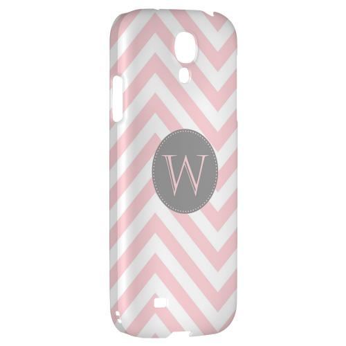 Gray Button Monogram W on Pale Pink Zig Zags - Geeks Designer Line Monogram Series Hard Back Case for Samsung Galaxy S4