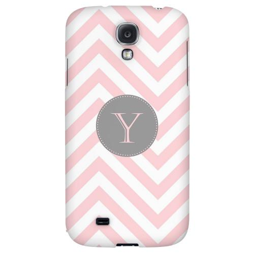 Gray Button Monogram Y on Pale Pink Zig Zags - Geeks Designer Line Monogram Series Hard Back Case for Samsung Galaxy S4
