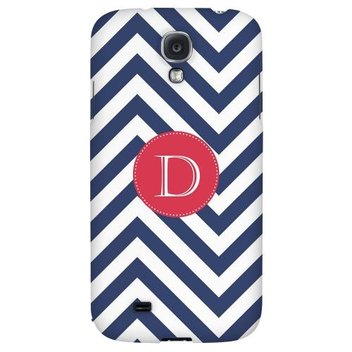 Cherry Button Monogram D on Navy Blue Zig Zags - Geeks Designer Line Monogram Series Hard Back Case for Samsung Galaxy S4