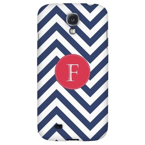 Cherry Button Monogram F on Navy Blue Zig Zags - Geeks Designer Line Monogram Series Hard Back Case for Samsung Galaxy S4