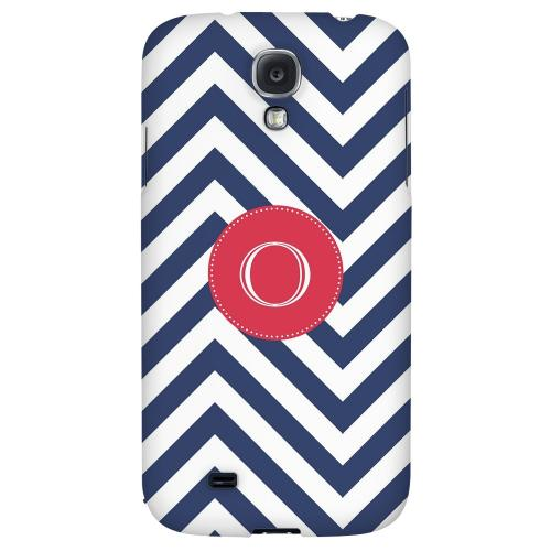 Cherry Button Monogram O on Navy Blue Zig Zags - Geeks Designer Line Monogram Series Hard Back Case for Samsung Galaxy S4