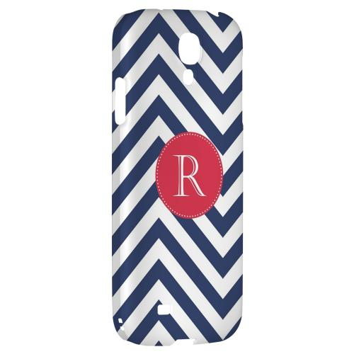 Cherry Button Monogram R on Navy Blue Zig Zags - Geeks Designer Line Monogram Series Hard Back Case for Samsung Galaxy S4