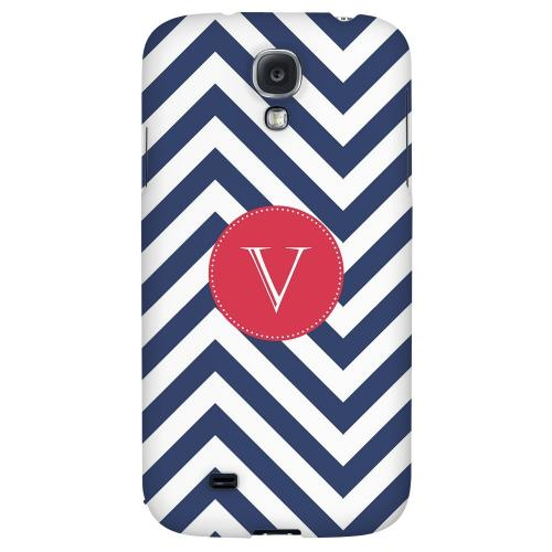 Cherry Button Monogram V on Navy Blue Zig Zags - Geeks Designer Line Monogram Series Hard Back Case for Samsung Galaxy S4