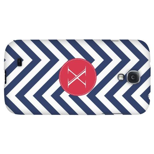 Cherry Button Monogram X on Navy Blue Zig Zags - Geeks Designer Line Monogram Series Hard Back Case for Samsung Galaxy S4