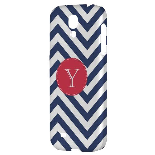Cherry Button Monogram Y on Navy Blue Zig Zags - Geeks Designer Line Monogram Series Hard Back Case for Samsung Galaxy S4