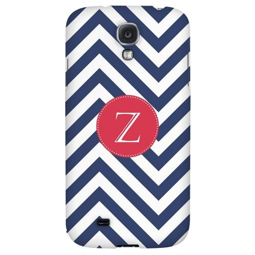 Cherry Button Monogram Z on Navy Blue Zig Zags - Geeks Designer Line Monogram Series Hard Back Case for Samsung Galaxy S4