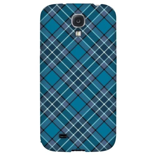 Dark Aqua/ White Plaid - Geeks Designer Line Checker Series Hard Back Case for Samsung Galaxy S4