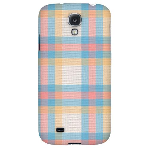 Blue/ Pink/ Orange Plaid Fabric - Geeks Designer Line Checker Series Hard Back Case for Samsung Galaxy S4