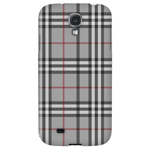 Classic Gray/ White/ Red Plaid - Geeks Designer Line Checker Series Hard Back Case for Samsung Galaxy S4