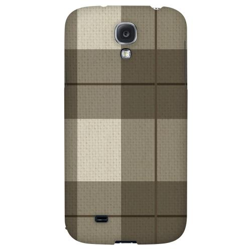 Off-Centered Zoom Brown Plaid - Geeks Designer Line Checker Series Hard Back Case for Samsung Galaxy S4