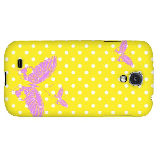 Pink Butterfly on White Polka Dots - Geeks Designer Line Spring Series Hard Back Case for Samsung Galaxy S4