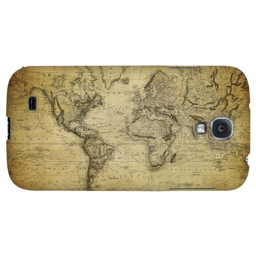 Vintage World Map Circa 1800's - Geeks Designer Line Map Series Hard Back Case for Samsung Galaxy S4