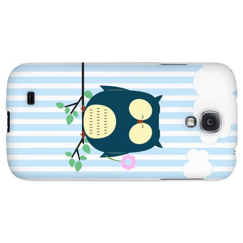 Fat Peaceful Owl on Tree Branch - Geeks Designer Line Owl Series Hard Back Case for Samsung Galaxy S4