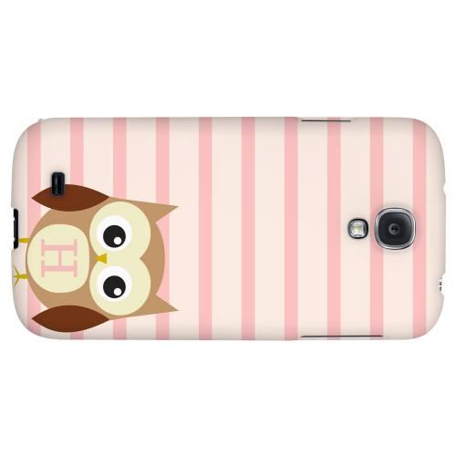Brown Owl Monogram H on Pink Stripes - Geeks Designer Line Owl Series Hard Back Case for Samsung Galaxy S4