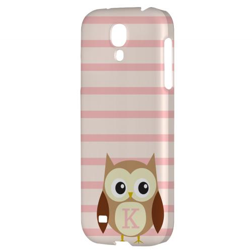 Brown Owl Monogram K on Pink Stripes - Geeks Designer Line Owl Series Hard Back Case for Samsung Galaxy S4