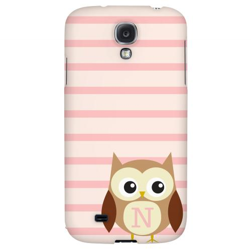 Brown Owl Monogram N on Pink Stripes - Geeks Designer Line Owl Series Hard Back Case for Samsung Galaxy S4