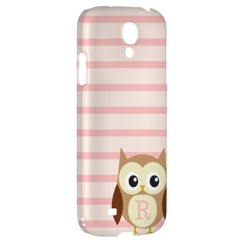 Brown Owl Monogram R on Pink Stripes - Geeks Designer Line Owl Series Hard Back Case for Samsung Galaxy S4