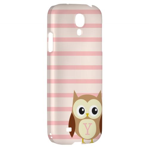 Brown Owl Monogram Y on Pink Stripes - Geeks Designer Line Owl Series Hard Back Case for Samsung Galaxy S4